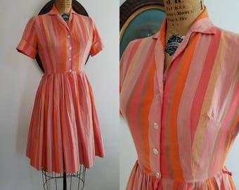 Vintage 1950s stripped cotton day dress | 50s pink shirtwaist