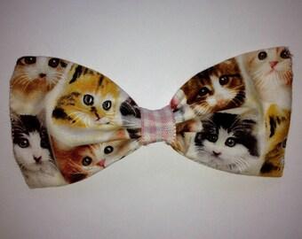Cat print hair bow, Cat print Hair clip, Hair clip, Hair bow, Cat bow hair band, Cat hair band, Cat hair clip,