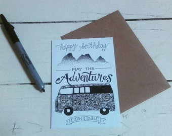 Happy Birthday - A6 greetings card - Henna Mehndi art - Mandala - VW camper - Campervan - May the Adventures continue - Zentangle