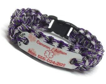 Autism medical id paracord bracelet, Kids waterproof medical alert, Waterproof lead & nickel free, Child's emergency wristband jewelry
