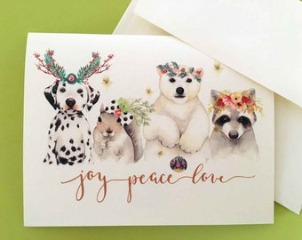 Christmas Card, Holiday Cards, Animal Card, Set of 10 cards