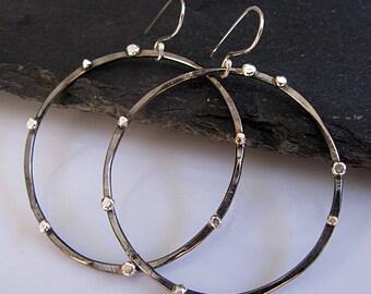 Black and Silver Hoop Earrings Silver Stud Earrings Black Rhodium Sterling Silver Fine Silver Hoops Ear Rocker Large Hoop Earring