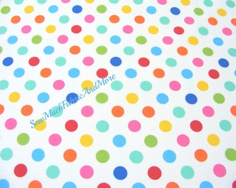 Back in stock-Mini Colorful Polka Dots Fabric~by the 1/2 yd or yard~Windham Basic brights~cotton~white