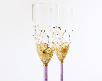 Wedding Glasses, Hand Painted Champagne Glasses, Toasting Flutes, Purple and Gold Glasses, set of 2, Swarovski
