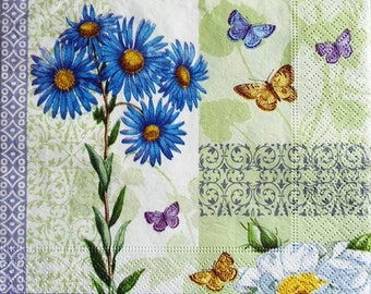 TOWEL in blue paper flowers and butterflies #F105