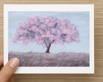 Cherry Blossom Tree all occasion blank greeting card