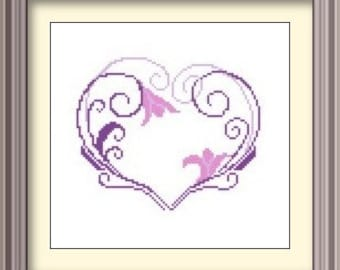 Heart Modern Cross Stitch Pattern PDF Chart Heart in Purple Instant Download