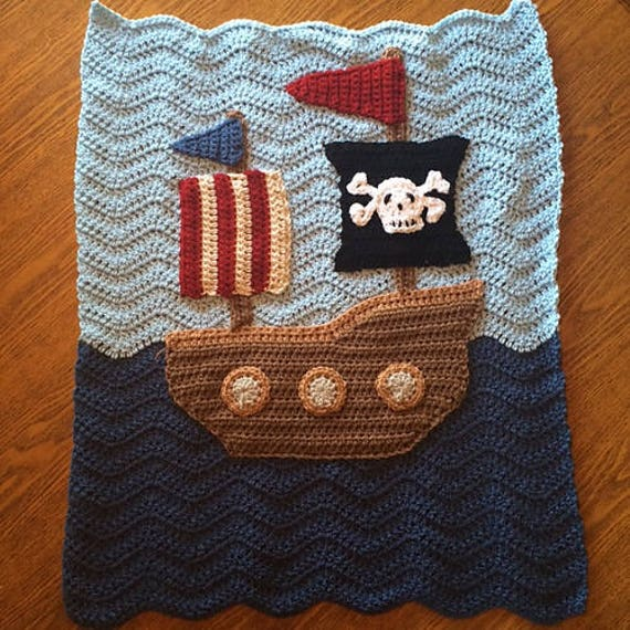 CROCHET PATTERN - Pirate Ship with Flags Crochet Blanket Throw - PATTERN