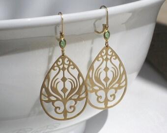 Sandpiper Golden Teardrop Filigree Earrings With Petite Peridot Stones