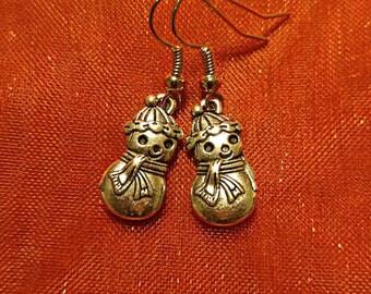 Antique Silver Snowman Earrings, Vintage Style Snowmen Earrings, Snowmen Earrings, Snowmen Jewelry, Snowman Charms