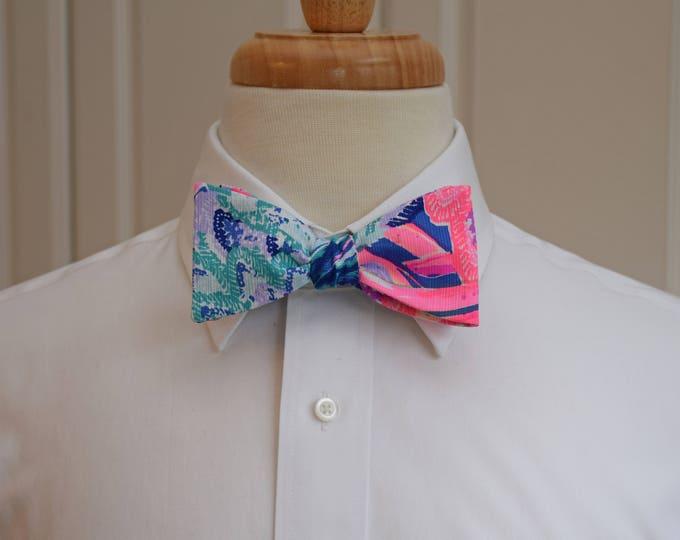 Men's Bow Tie, blues/pinks Gypset Paradise Lilly print, groomsmen/groom bow tie, wedding bow tie, Carolina Cup/Kentucky Derby bow tie, prom