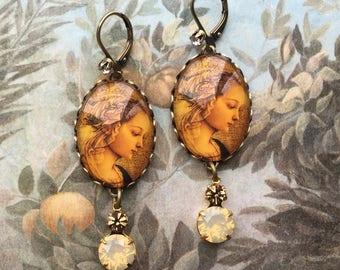 Long Dangle Earrings - Romantic Earrings - Renaissance Jewelry - Antique Style Earrings - Drop Earrings - Rhinestone Earrings - Gift for Her
