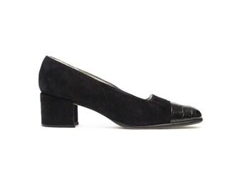 vintage 60s Van Eli black suede shoes retro fashion sz 6.5