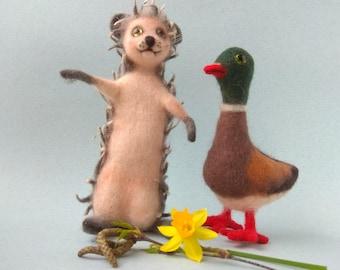 Felted Gift Set Beige Hedgehog and Brown Duck Needle Felt Animals Home Decor Ornament Woolen Toys