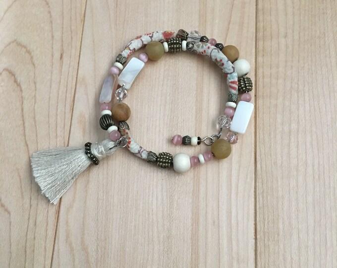 laPetite - one of a kind wrap around kimono cord bead bracelet