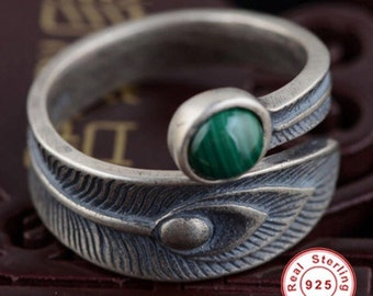 Feather Adjustable Sterling Silver Ring Finished With Malachite Gemstone Beautiful Hand Made Hand Engraved