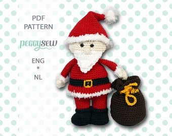 Mr. Santa Claus with bag, amigurumi crochet pattern, PDF ENG