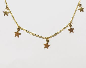 The star overload chain choker in gold