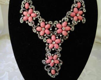 Flower Rhinestone Bib Necklace #253