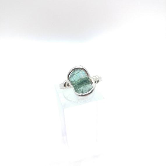 Tourmaline Crystal Ring | Sterling Silver Ring Sz 6.75  | Raw Blue Green Tourmaline Ring |  Raw Crystal Ring | Uncut Gemstone Ring | Teal