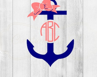 Monogrammed Anchor and Bow Decal
