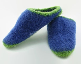 Womens green & blue felted wool slippers size 7