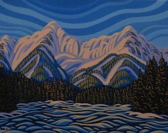 """Fernie Alpine, 14""""X20"""", Original Painting, Canadian Artist, Ready to Hang, Gallery Canvas"""