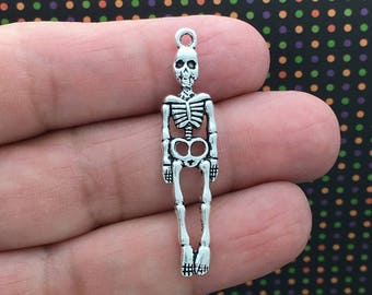 8 Halloween Pendant Silver Skeleton Charm 39x9mm by TIJC SP1019