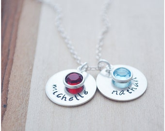 Name Necklace - Custom Hand Stamped Birthstone Necklace - Sterling Silver Grandchild Necklace - Personalized Jewelry - Gifts for Grandma