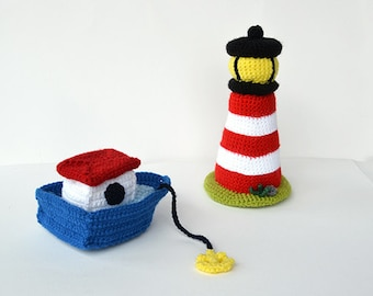 Boat and Lighthouse Crochet Pattern, Boat Amigurumi Pattern, Lighthouse Amigurumi Pattern, Boat Crochet Pattern, Lighthouse Crochet Pattern