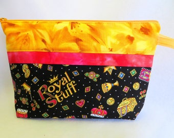 Wide Open Zipper Bag, Notions Bag, Cosmetic Bag, Sewing Bag, Toiletries Bag, Jewelry Bag, Knitting Bag, Crochet Bag