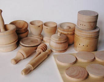 RESERVED Gift- Natural Wooden Toy Set - Waldorf Wood Toys- Wooden Dishes - Pretend Play Kitchen Set - Montessori Toys