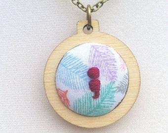 Semicolon pendant jewellery in mini embroidery hoop antique bronze colour 32/18 inch chain mental health awareness feather print fuschia fun