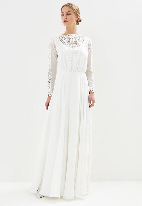 Boho Spitze Hochzeit Kleid / gerade Kleid / Spitze Ausschnitt