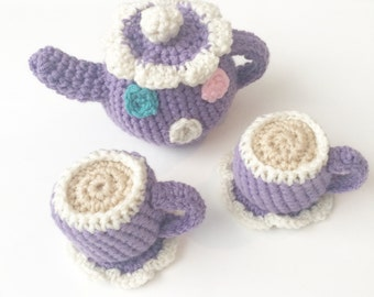 Crochet play tea set