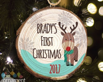 Baby's First Christmas reindeer cut pine wood ornament MWO-004