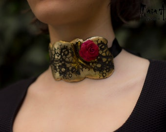 polymer clay, rose
