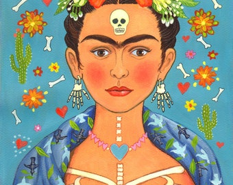 "Greetings Card: ""Frida's Heart"", for those who love Frida Kahlo and the Day of the Dead! By Laura Robertson"