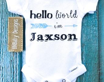 baby boy onesie, custom baby onesie, hello world, personalized baby boy gift, name onesie, take home outfit, baby boy gift, arrow onesie