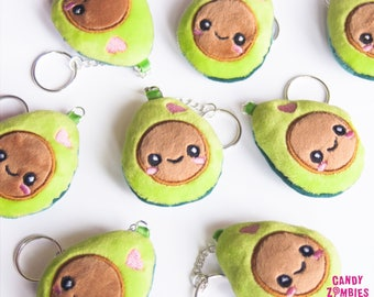 Kawaii Avocado keychain * Plush Minky Fabric * Embroidered Embroidery * Green Brown