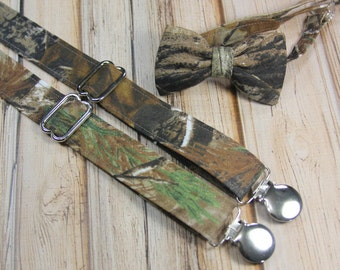 Realtree Camo Bow Tie and Suspender set ( Men, boys, baby, toddler, infant ) Bow Tie, Bowtie, Suspenders, Suspender Set outfit