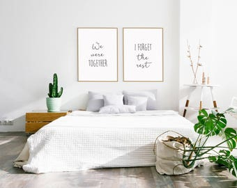 We Were Together I Forget The Rest Wall Decor, Walt Whitman Quote, Farmhouse Bedroom Decor, Romantic Artwork, Minimalist Decor / UNFRAMED