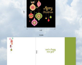 CQ4177DXSG New Square-Top Christmas Card: Retro Groovy Greetings  Ft. Bright Images of Nostalgia Inspiring Ornaments w/ Env