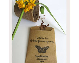 Wedding Favor Wildflower Seeds, Organic Yellow Milkweed Flower Seed Favors, Save the Monarch Butterfly  / Set of 10 Seed Packs / (YTM01)