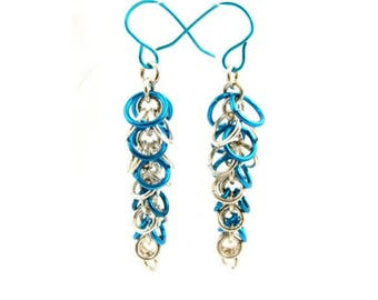 Aqua Cluster Earring, Prom Jewelry, Boho Style Bright Blue Earrings, Gift for Her