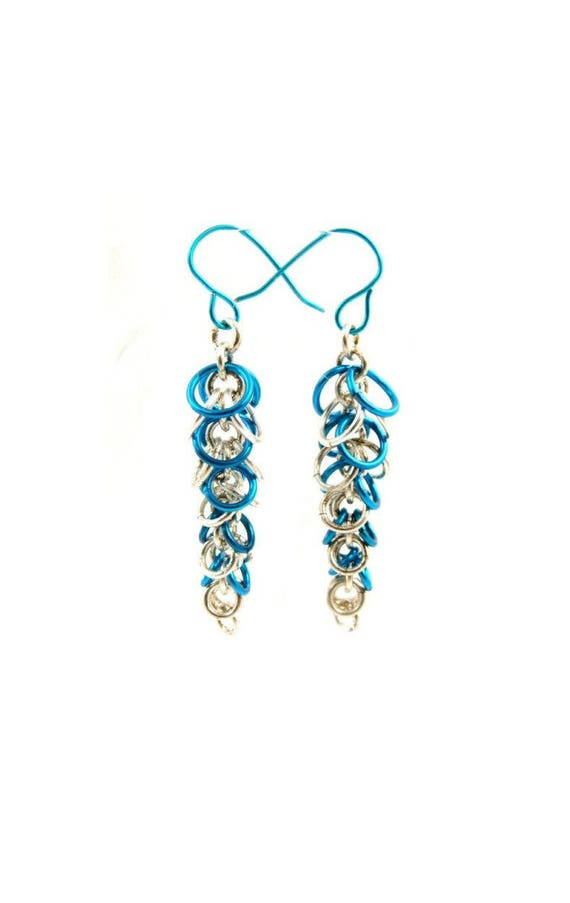 earrings drop enamel small aqua vintage blue bright media