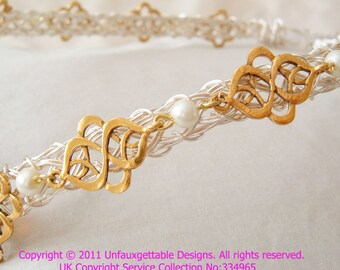 Celtic Elven Silver Gold & Pearl circlet crown adjustable to fit any size - men and women- larp ren sca
