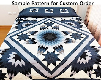 Dusky Starry Night, Homemade quilts, King size quilts, Amish quilt handmade, Bedspread, patchwork, Custom quilts, Personalized quilts, gray