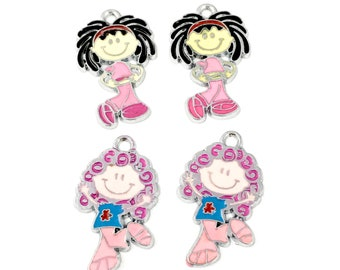 4 little girl charms enamel and silver tone, 30mm, CH 566
