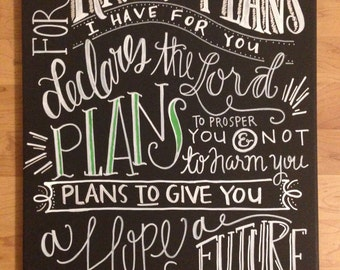 Hand lettered canvas Jeremiah 29:11 For I Know the Plans I Have for You 18x24